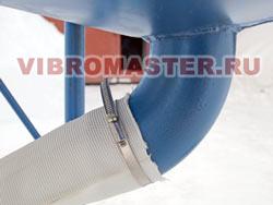 Крепление разгрузочного шланга на патрубке при помощи хомутового соединения