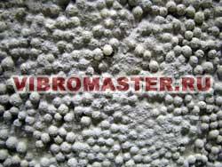 Срез полистиролбетона: вспененные гранулы полистирола - заполнитель, образующий скелет бетонного камня, цемент - вяжущее вещество